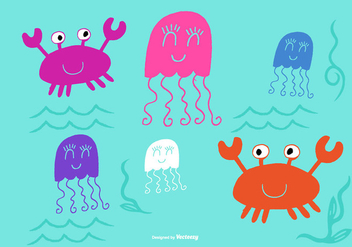 Cute Sea Creature Vectors - vector gratuit #372959