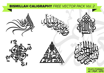 Bismillah Calligraphy Free Vector Pack Vol. 2 - Free vector #372999