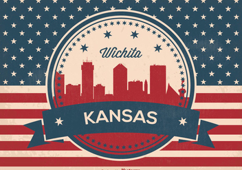 Retro Wichita Kansas Skyline Illustration - vector gratuit #373129