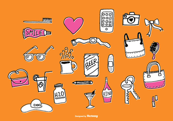 Fun Hand Drawn Accessories Vectors - vector #373149 gratis