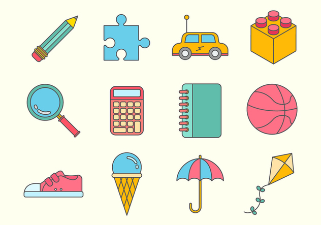 Free Kids Stuff Vector Icons - vector #373449 gratis