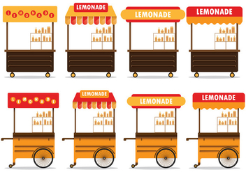 Set Of Lemonade Stand Vector - Free vector #373489
