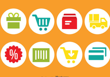 Online Shopping Circle Icons - бесплатный vector #373629