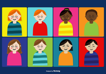 Cute People's Faces Vectors - Kostenloses vector #373679