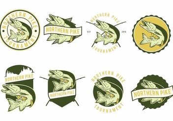 Pike Fish Badges - бесплатный vector #373789