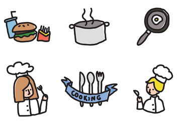 Kids Cooking Icons - vector gratuit #373839