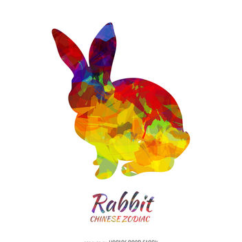 Chinese horoscope rabbit silhouette - бесплатный vector #374009
