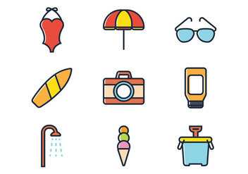 Beach Line Icon - vector gratuit #374129
