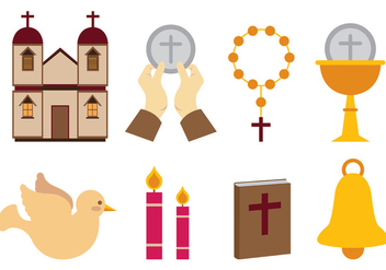 Set Of Eucharist Vector Icons - vector gratuit #374149