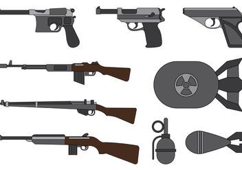 Vector Collection Of World War 2 Weapons - Free vector #374209