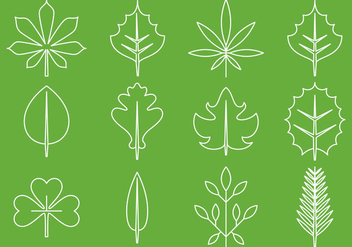 Leaves Line Icons - vector #374419 gratis