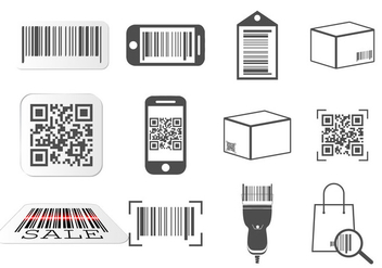 QR code and Barcode icons set - vector gratuit #374459