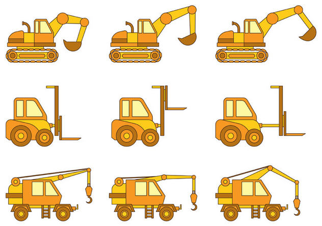 Set Of Skid Steer Vector - Kostenloses vector #374489