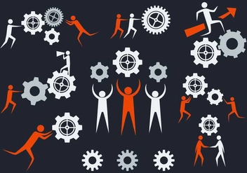 Free Working Together Icons Vector - vector gratuit #374919