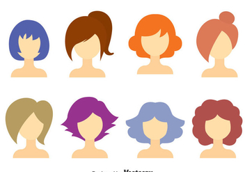 GIrl Hair Style Collection Vector - Kostenloses vector #375059