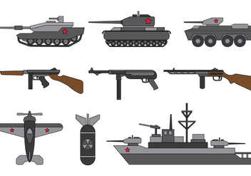Set Of World War 2 Vector - Free vector #375079