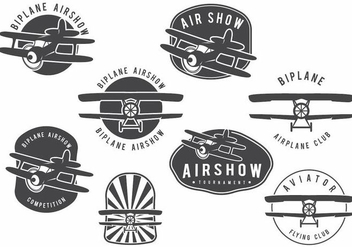 Biplane Badge Set - vector #375189 gratis