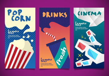 Popcorn Cinema Designs Templates Vector - бесплатный vector #375279