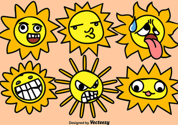Set Of Funny Cartoon Suns With Faces - бесплатный vector #375509