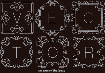 Set Of Vector White Monograms - vector gratuit #375639