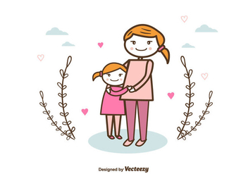 Mom And Child Background - vector gratuit #375709