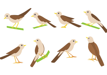 Nightingale Bird Vector Icons - Kostenloses vector #375999