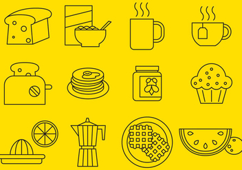 Breakfast Line Icons - Free vector #376029