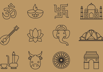 India Line Icons - vector gratuit #376129