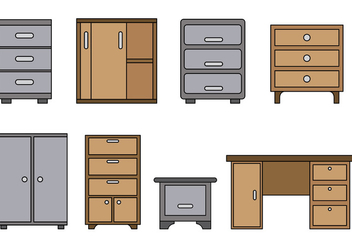 Set Of File Cabinet Vector - vector gratuit #376269
