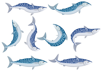 Mackerel icons - Free vector #376279