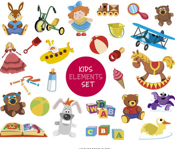 Kid element drawing set - бесплатный vector #376589