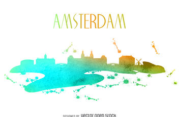 Amsterdam watercolor skyline - Free vector #376649