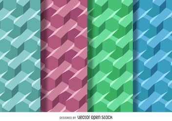 3D polygonal pattern set - Free vector #376669