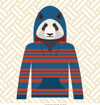 Panda with hoodie illustration - Free vector #376679