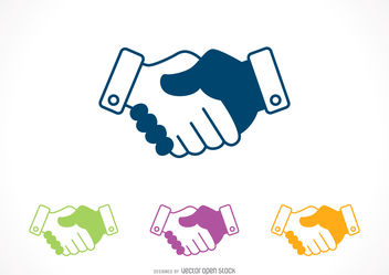 Shaking hands icon set - vector gratuit #376779