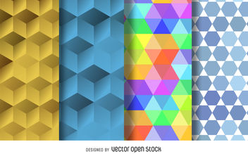 Seamless polygonal pattern set - vector gratuit #376899