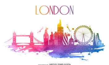 London watercolor skyline silhouette - бесплатный vector #376909