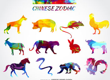 Chinese zodiac animals set - vector gratuit #376949