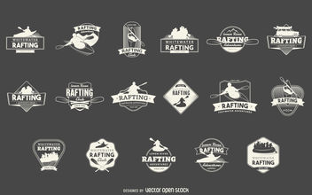 Rafting sport label set - vector gratuit #377099