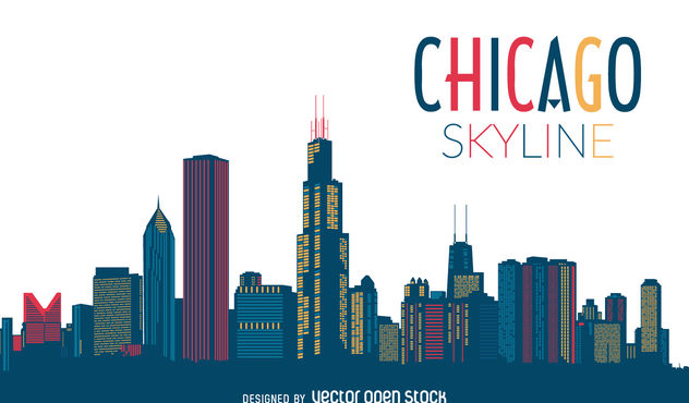 Chicago skyline silhouette - vector gratuit #377109