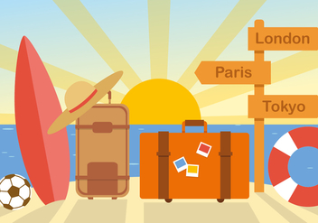Free Flat Summer Travel Vector - vector #377389 gratis