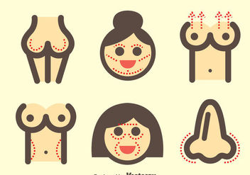 Woman Plastic Surgery Icons - vector gratuit #377569
