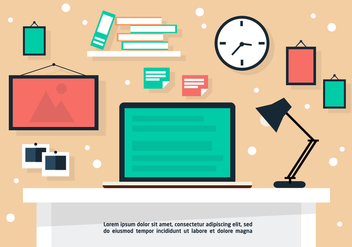 Free Flat Business Desk Vector Background - бесплатный vector #377589