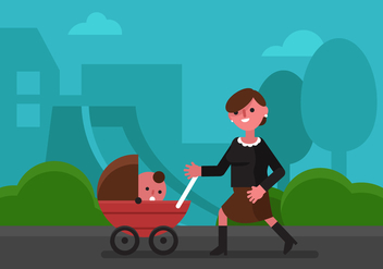 Vector Babysitter in The Park - Free vector #377659