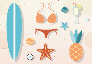 Free Vector Summer Elements & Accessories - Free vector #377969