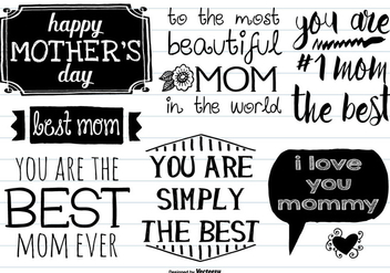 Cute Hand Drawn Motther's Day Labels - Free vector #378019