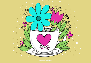 Coffee Cup Vase Vector - бесплатный vector #378059