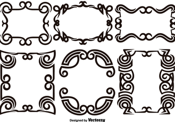 Scroll Works Design - Ornamental Decorative Frames - Vector Elements - Kostenloses vector #378179