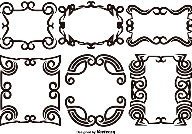Scroll Works Design - Ornamental Decorative Frames - Vector Elements - бесплатный vector #378179