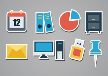 Free Office Sticker Icon Set - бесплатный vector #378189